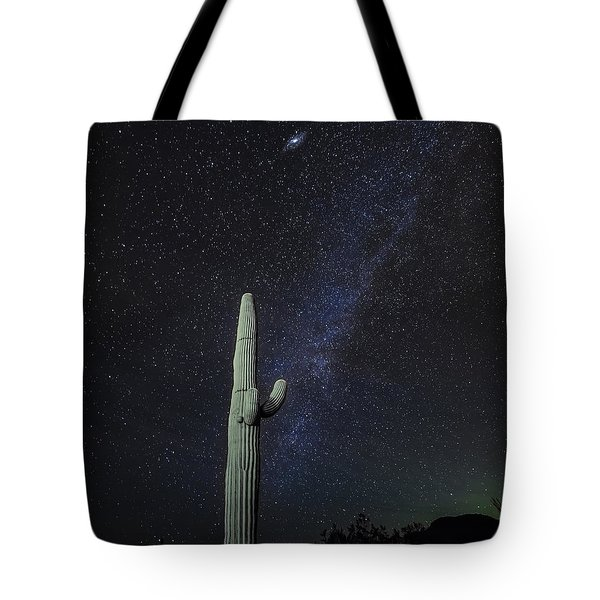 Tote Bag featuring the photograph Night Desert Skies by Charles Warren