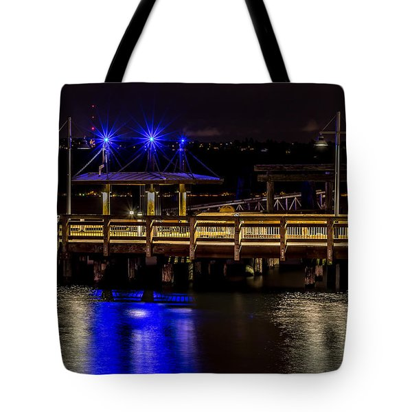 Night Falls On Old Town Pier Tote Bag