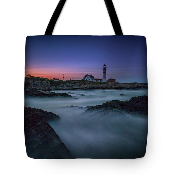 Night Falls On Portland Head Tote Bag