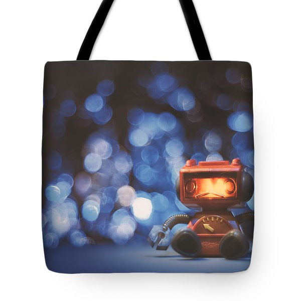 Night Falls On The Lonely Robot Tote Bag