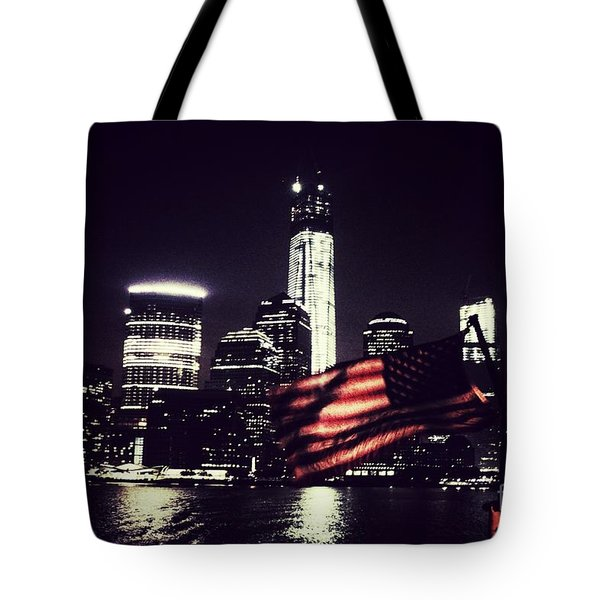 Tote Bag featuring the photograph Night Flag by Helge
