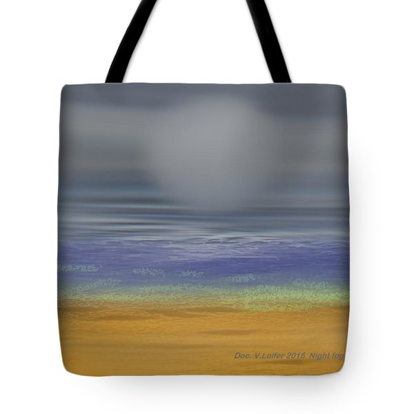 Tote Bag featuring the digital art Night Fog On The Beach by Dr Loifer Vladimir