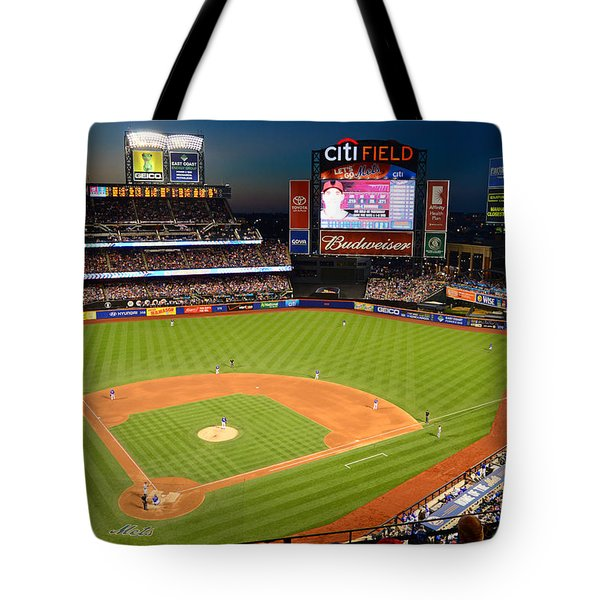 Night Game At Citi Field Tote Bag