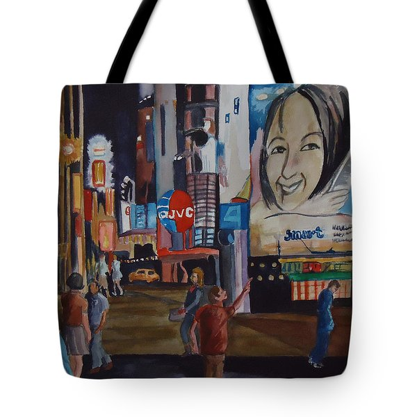 Night In Time Square Tote Bag