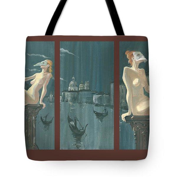 Night In Venice. Triptych Tote Bag