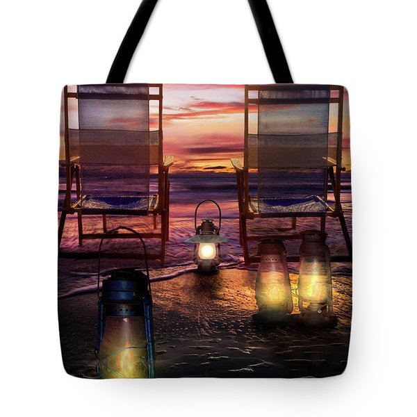 Tote Bag featuring the photograph Night Lights At Sunset by Debra and Dave Vanderlaan
