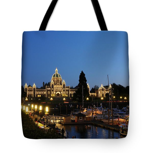 Night Lights On Victoria Harbor Tote Bag
