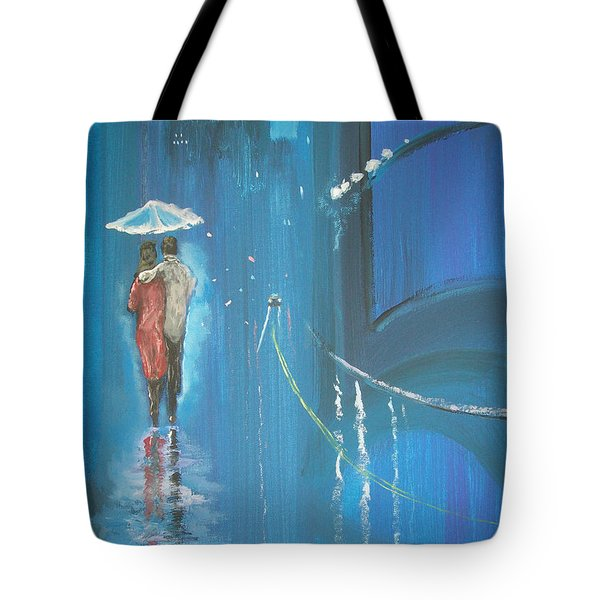 Tote Bag featuring the painting Night Love Walk by Raymond Doward