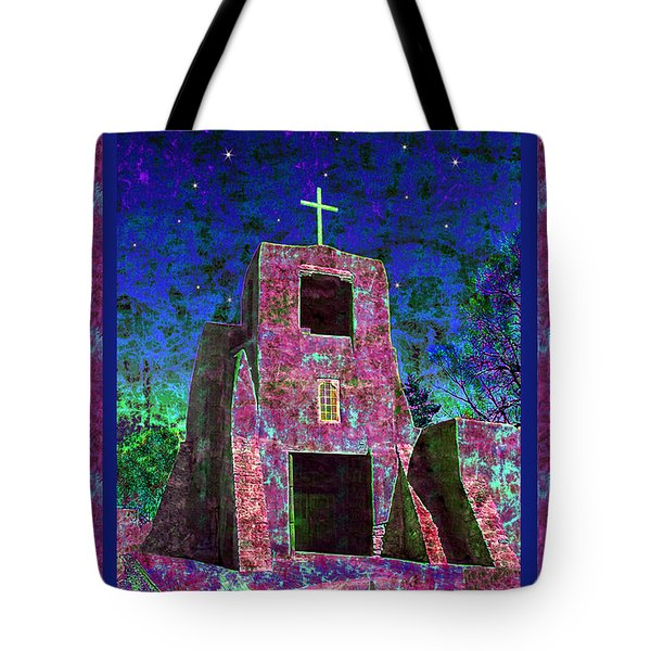 Night Magic San Miguel Mission Tote Bag by Kurt Van Wagner