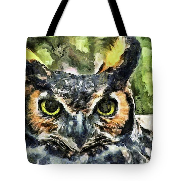 Tote Bag featuring the mixed media Night Owl by Trish Tritz