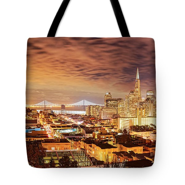 Night Panorama Of San Francisco And Oak Area Bridge From Ina Coolbrith Park - California Tote Bag