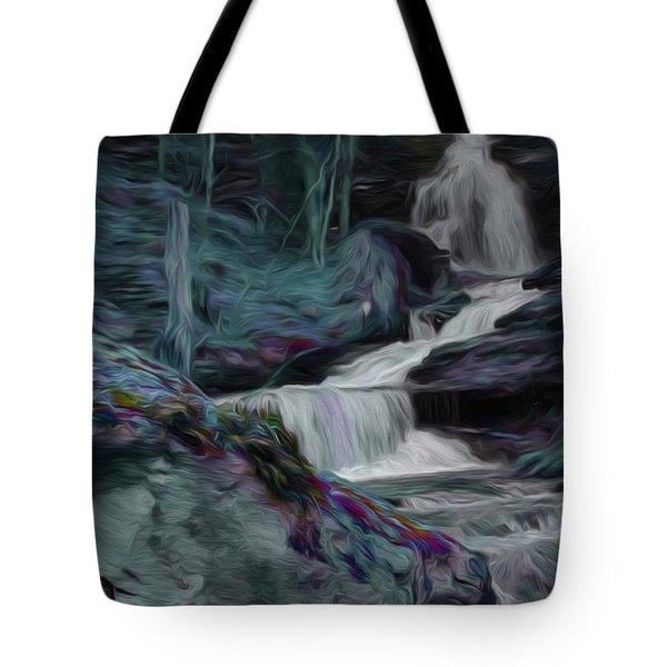 Night Rainbow Waterfall Tote Bag