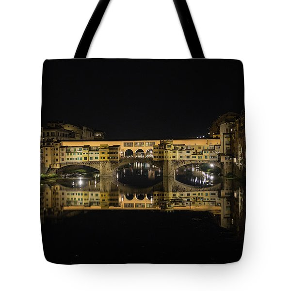 Night Reflections Of The Ponte Vecchio Tote Bag