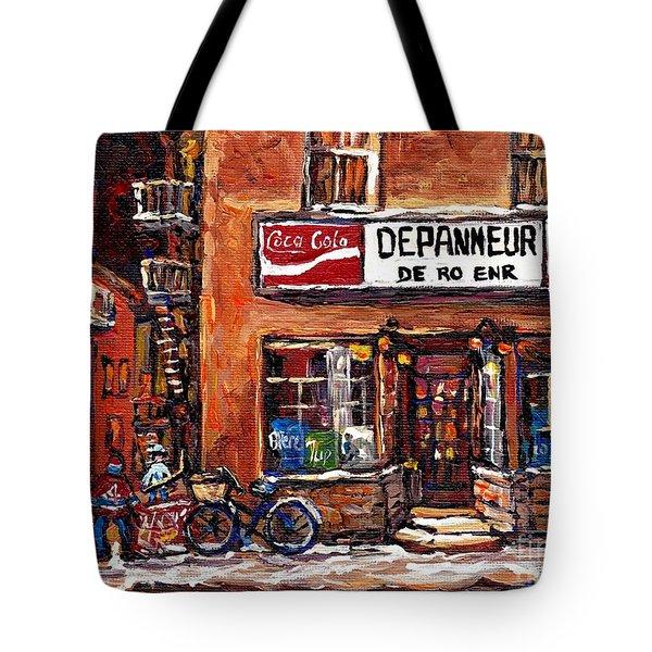 Night Scene Hockey Laneway Painting Depanneur De-ro Rue De La Roche Best Montreal Winter Art Scenes  Tote Bag