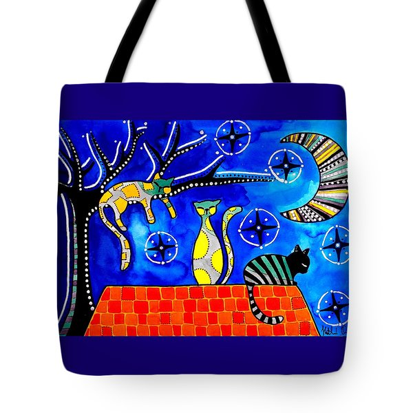 Night Shift - Cat Art By Dora Hathazi Mendes Tote Bag by Dora Hathazi Mendes