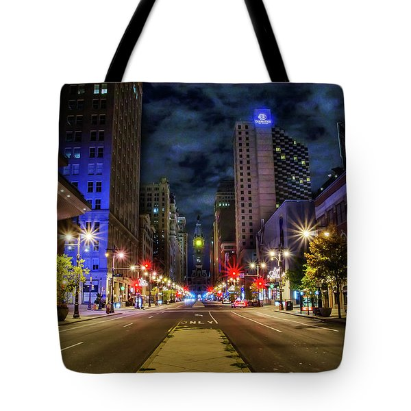 Tote Bag featuring the photograph Night Shot Of Broad Street - Philadelphia by Bill Cannon