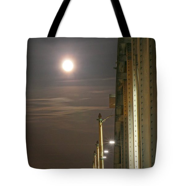 Night Shot Of The Los Angeles 6th Street Bridge And Supermoon #3 Tote Bag