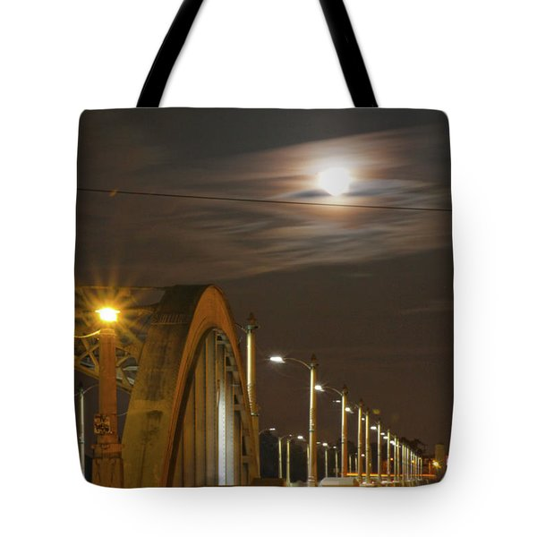 Night Shot Of The Los Angeles 6th Street Bridge And Supermoon #4 Tote Bag