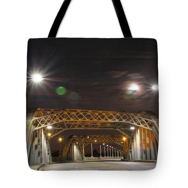 Night Shot Of The Los Angeles 6th Street Bridge And Supermoon #5 Tote Bag