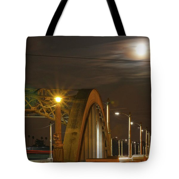 Night Shot Of The Los Angeles 6th Street Bridge And Supermoon #7 Tote Bag
