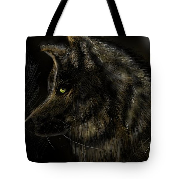 Tote Bag featuring the digital art Night Silent Wolf by Darren Cannell