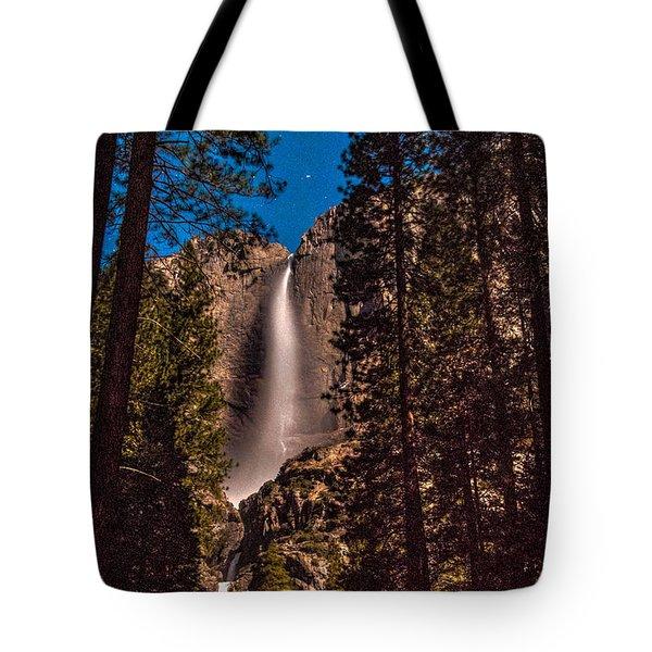 Night Sky At Yosemite Falls Tote Bag