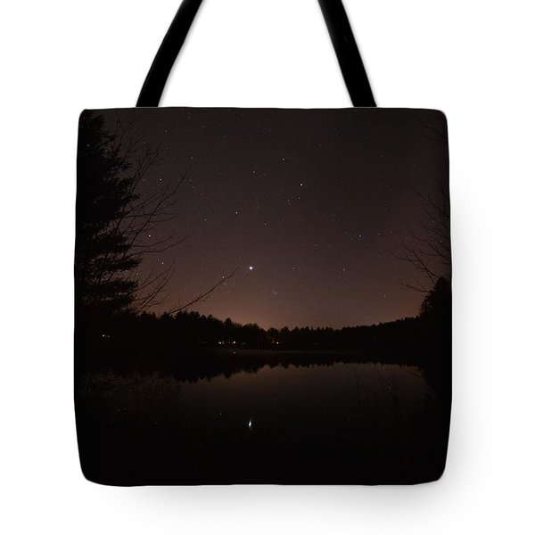 Night Sky Over The Pond Tote Bag
