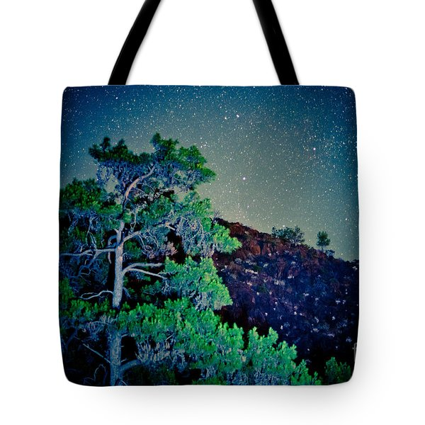 Night Sky Scene With Pine And Stars Artmif.lv Tote Bag