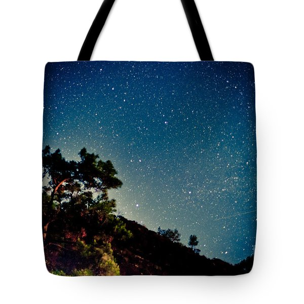 Night Sky Scene With Pine And Stars Tote Bag