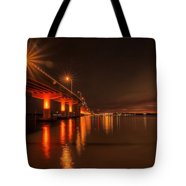 Night Time Reflections At The Bridge Tote Bag