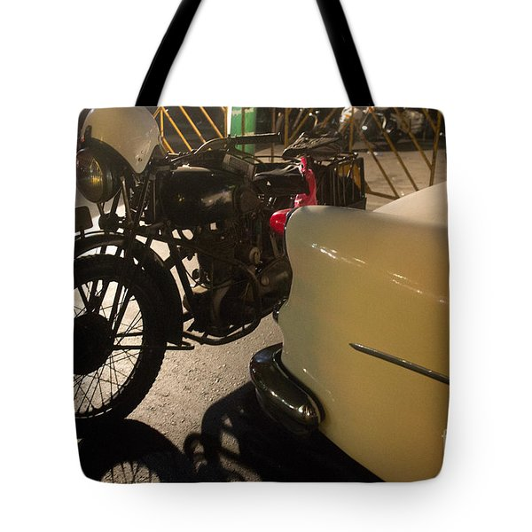 Night Time Silhouette Of Vintage Motorcycle Near Tail Of 50's St Tote Bag
