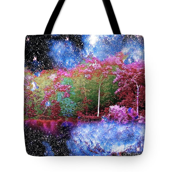 Night Trees Starry Lake Tote Bag
