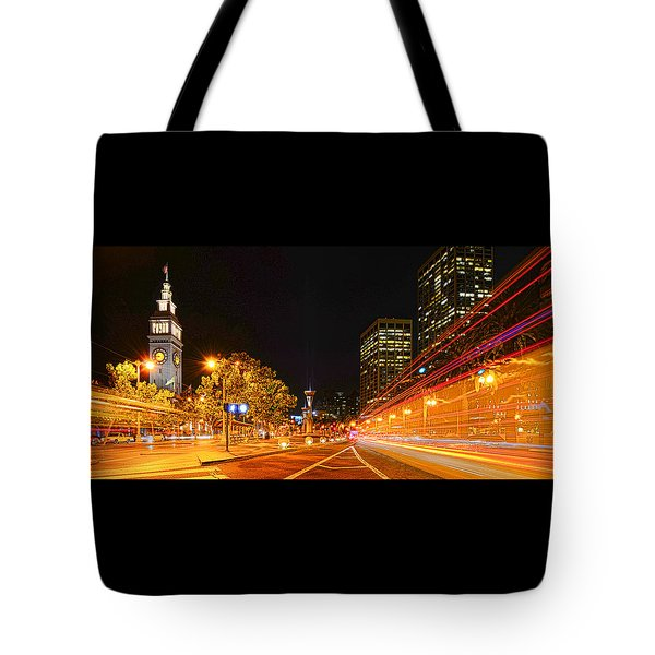 Tote Bag featuring the photograph Night Trolley On Time by Steve Siri