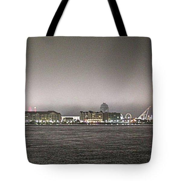 Night View Ocean City Downtown Skyline Tote Bag