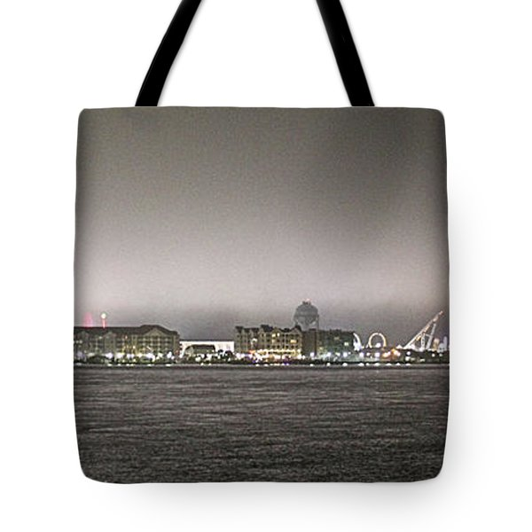 Night View Ocean City Downtown Skyline Tote Bag