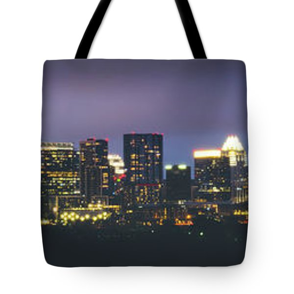 Night View Of Downtown Skyline In Winter Tote Bag