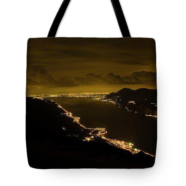 Night View Of Lkae Garda From Monte Baldo Tote Bag
