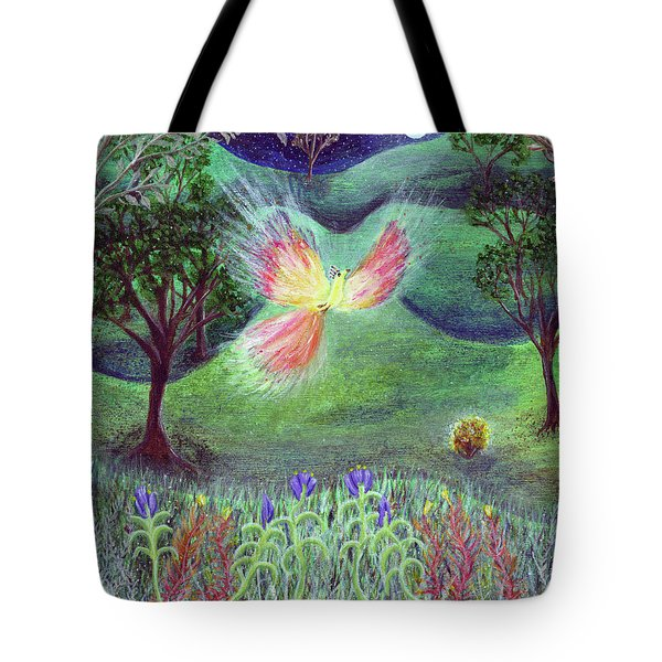 Night With Fire Bird And Sacred Bush Tote Bag