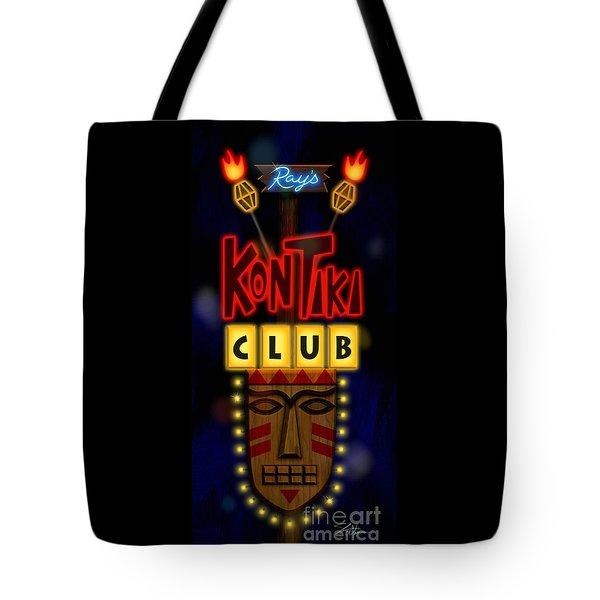Nightclub Sign Rays Kon Tiki Club Tote Bag