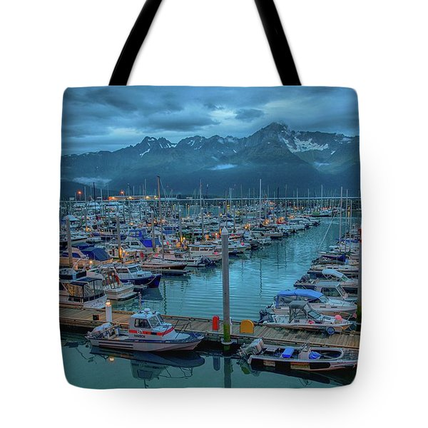 Nightfall On The Harbor Tote Bag
