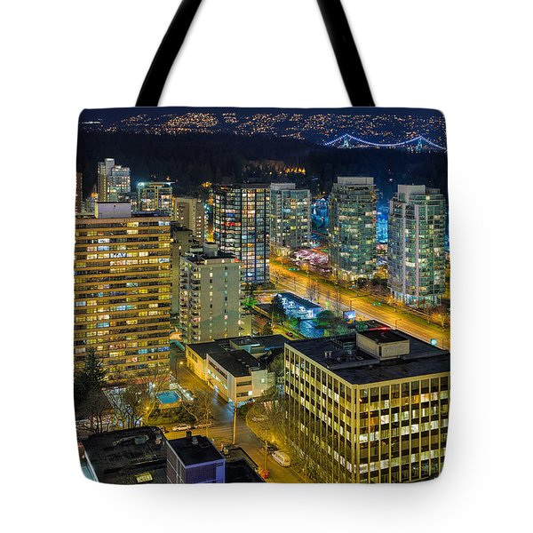Nightlife On The Other End Of Robson Street Tote Bag by David Gn