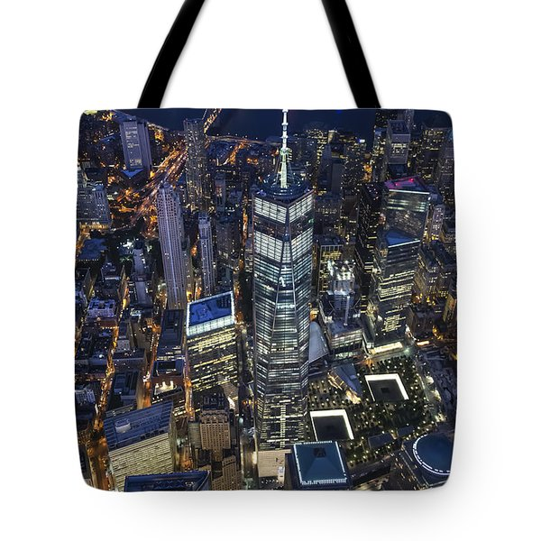 Nighttime Aerial View Of 1 Wtc Tote Bag