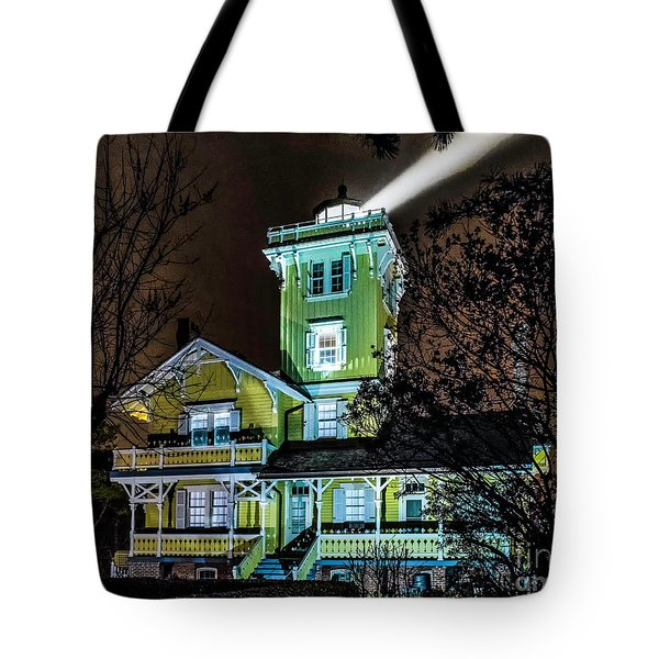 Tote Bag featuring the photograph Nighttime Fog At Hereford Inlet by Nick Zelinsky