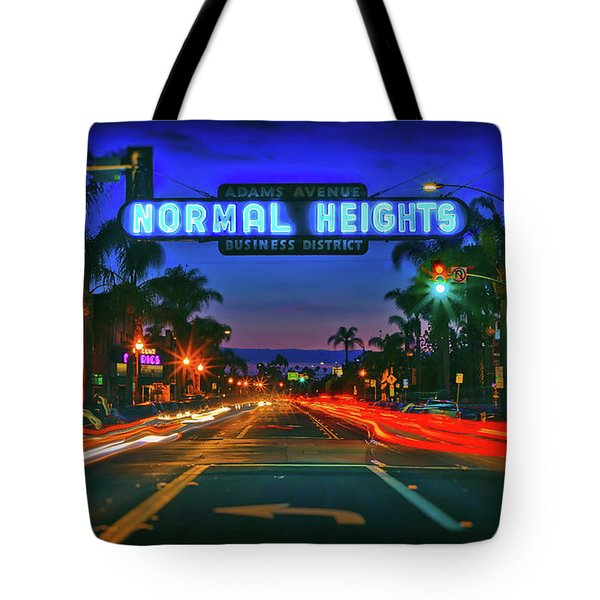 Nighttime Neon In Normal Heights, San Diego, California Tote Bag