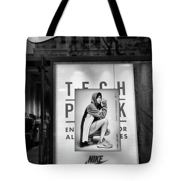Nike Display Street Photo Black Retail Store  Tote Bag