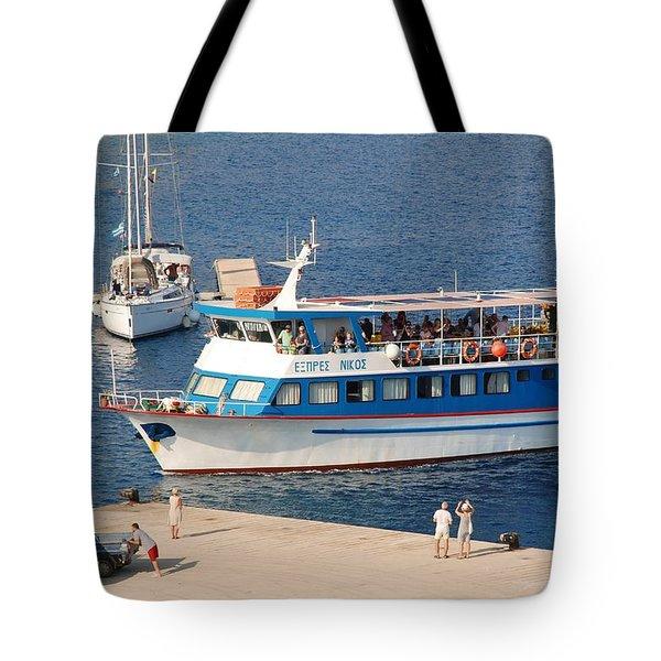 Nikos Express Ferry At Halki Tote Bag