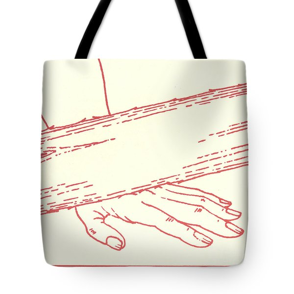 Tote Bag featuring the drawing Ninth Station- Jesus Falls The Third Time by William Hart McNichols