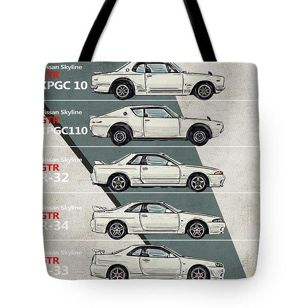 Nissan Skyline Gtr History - Timeline - Generations Tote Bag