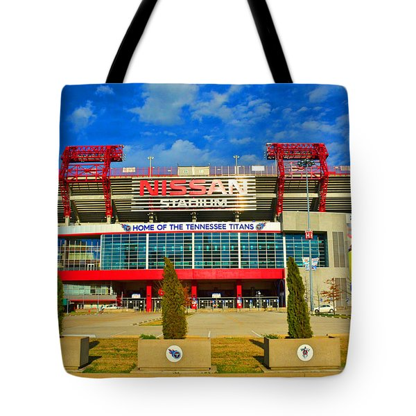 Tote Bag featuring the photograph Nissan Stadium Home Of The Tennessee Titans by Lisa Wooten