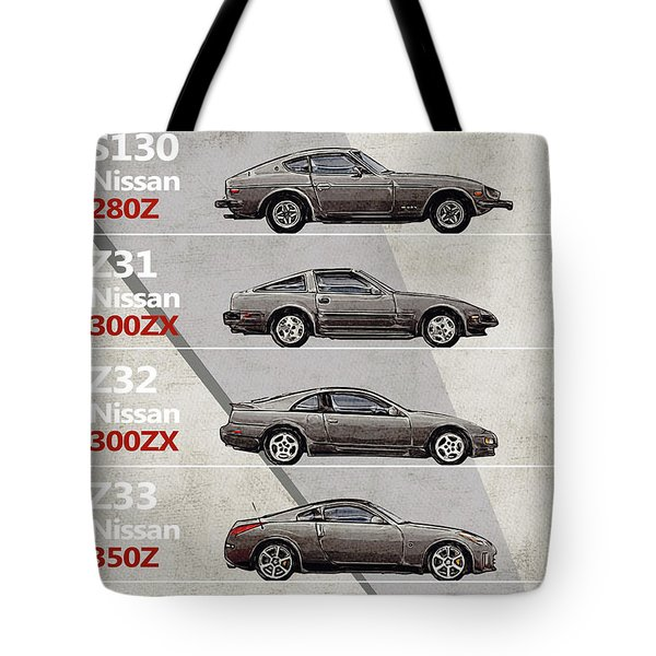 Nissan Z Generations - History - Timeline  Tote Bag